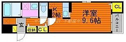 JR山陽本線 岡山駅 徒歩20分の賃貸マンション 3階1Kの間取り