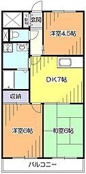 東京都東久留米市柳窪2丁目の賃貸アパートの間取り