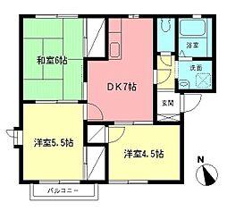 神奈川県伊勢原市高森4丁目の賃貸アパートの間取り