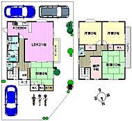 4SLDKの間取りです 駐車スペース3台分ございます サンルームもあるので雨の日の洗濯物も安心ですよ