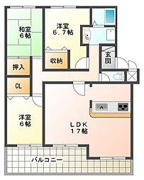 竹の台ネリキ[3階]の間取り