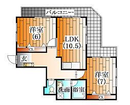 ラフォーレ横山[5階]の間取り