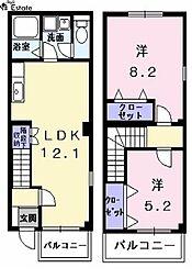 [テラスハウス] 愛知県名古屋市中村区横井1丁目 の賃貸【/】の間取り