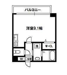 エグゼ難波南II[5階]の間取り