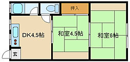 兵庫県伊丹市船原2丁目の賃貸アパートの間取り