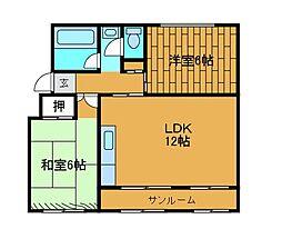 相武台団地1519号棟[1階]の間取り