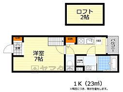 阪急箕面線 箕面駅 徒歩9分の賃貸アパート 1階1Kの間取り