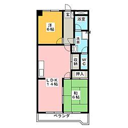 シャトウスサキパートI[3階]の間取り