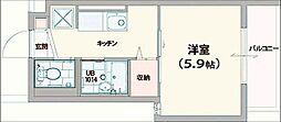 Newroof宇栄原 1階1Kの間取り