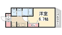 PARK HILLS池田Lien 12階1Kの間取り