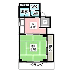 コーポ禅台寺[3階]の間取り