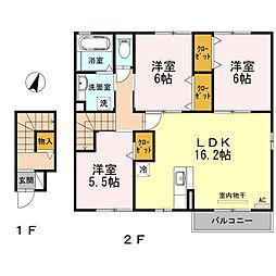 愛知県稲沢市西町1丁目の賃貸アパートの間取り