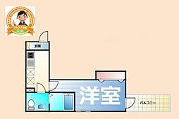 ベイルーム西横濱II 3階1Kの間取り