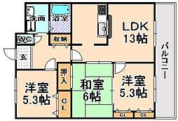 兵庫県伊丹市昆陽8丁目の賃貸マンションの間取り