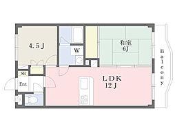 キャッスル東川口 3階2LDKの間取り