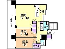 札幌市営南北線 さっぽろ駅 徒歩3分の賃貸マンション 22階2LDKの間取り