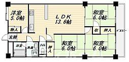 大阪府大阪市阿倍野区文の里3丁目の賃貸マンションの間取り
