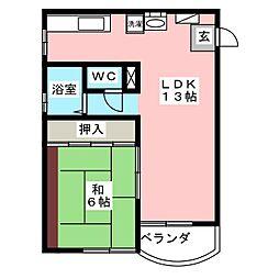 コーポ マルナガ[2階]の間取り