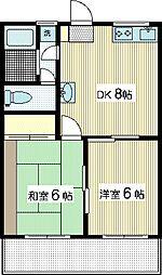 手塚コーポ2[3階]の間取り