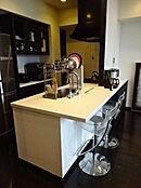 カウンターシステムキッチン。お料理をしながらリビングを一望できます。ディスポーザー、浄水器を備えています。