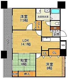 クラシオン西新[12階]の間取り