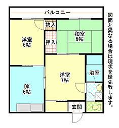 福岡県北九州市小倉北区下富野4丁目の賃貸マンションの間取り