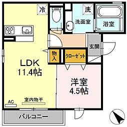 肥薩おれんじ鉄道 上川内駅 徒歩6分の賃貸アパート 2階1LDKの間取り