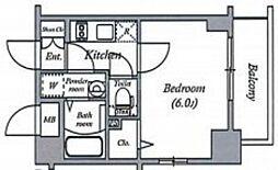 エスリード大阪ドームCERCA 2階1Kの間取り
