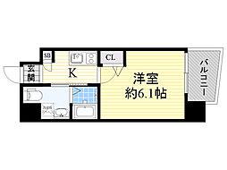 Live Casa 上新庄 2階1Kの間取り