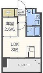 ドゥーエ赤坂 13階1LDKの間取り
