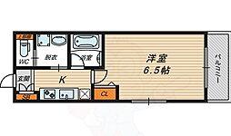 京阪本線 関目駅 徒歩5分の賃貸マンション 2階1Kの間取り