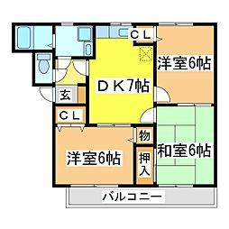 広島県東広島市西条御条町の賃貸マンションの間取り