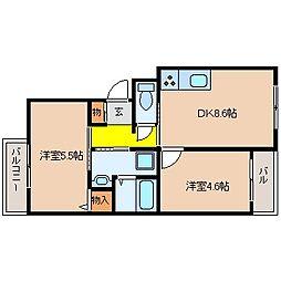 Chance西山本(シャンス西山本)[2階]の間取り