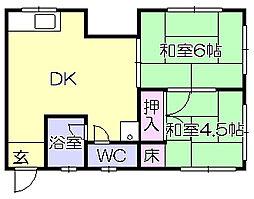 福岡県久留米市安武町住吉の賃貸アパートの間取り
