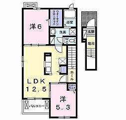 千葉県市原市ちはら台南5丁目の賃貸アパートの間取り