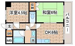 兵庫県神戸市長田区長楽町3丁目の賃貸マンションの間取り