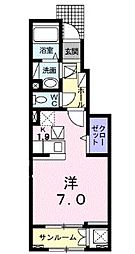 JR山陽本線 福山駅 5.6kmの賃貸アパート 1階1Kの間取り