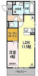 愛媛県松山市中村3丁目の賃貸アパートの間取り
