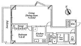 バス・トイレ別、収納有り・キッチン独立型の1LDKです
