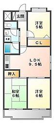 ヴィラ浜甲子園[3階]の間取り