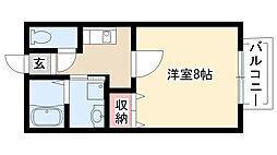 愛知県日進市岩崎町竹の山2丁目の賃貸アパートの間取り