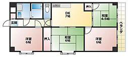 レーベンスフロー長池 8階4DKの間取り