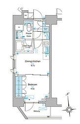 東京メトロ銀座線 稲荷町駅 徒歩4分の賃貸マンション 11階1DKの間取り