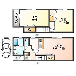 阪急宝塚本線 庄内駅 徒歩4分の賃貸テラスハウス 2LDKの間取り