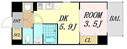 サムティ福島Rufle 4階1DKの間取り