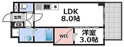 セレニテ谷九プリエ 4階1LDKの間取り
