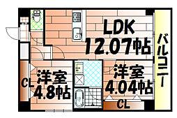 U-Basic Leef三萩野[701号室]の間取り