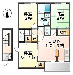 愛知県清須市清洲4丁目の賃貸アパートの間取り