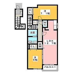 ラ・ソレイユ[2階]の間取り