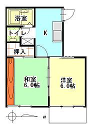 タウニィ437[2階]の間取り